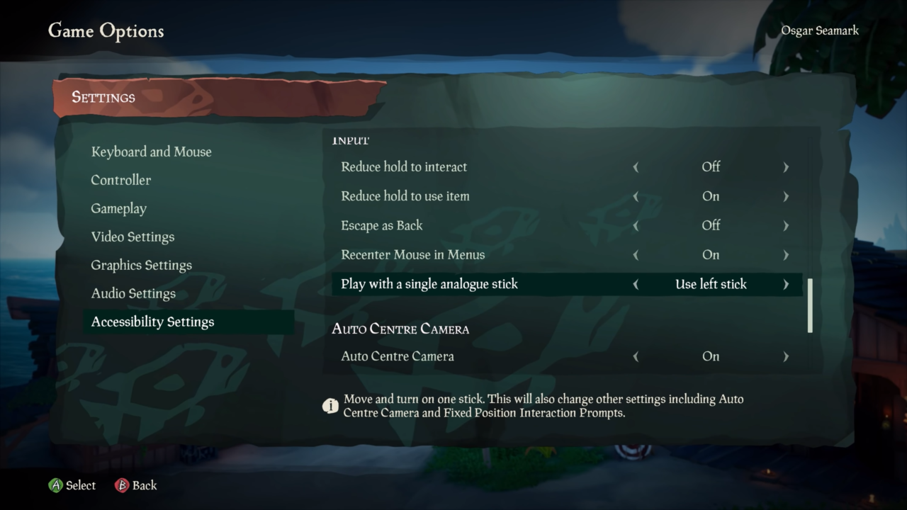 Sea of Thieves Single Stick Options